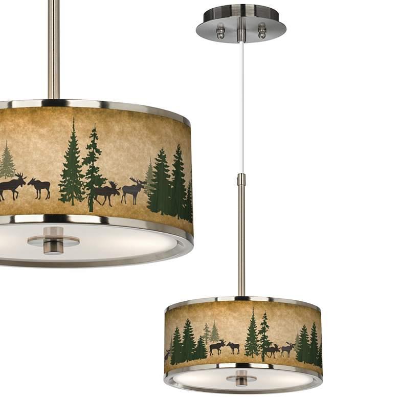 "Moose Lodge Giclee Glow 10 1/4"" Wide Pendant Light"
