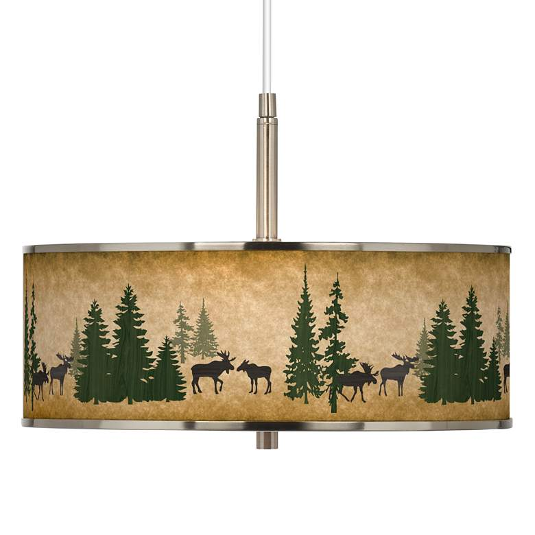 "Moose Lodge Giclee Glow 16"" Wide Pendant Light"