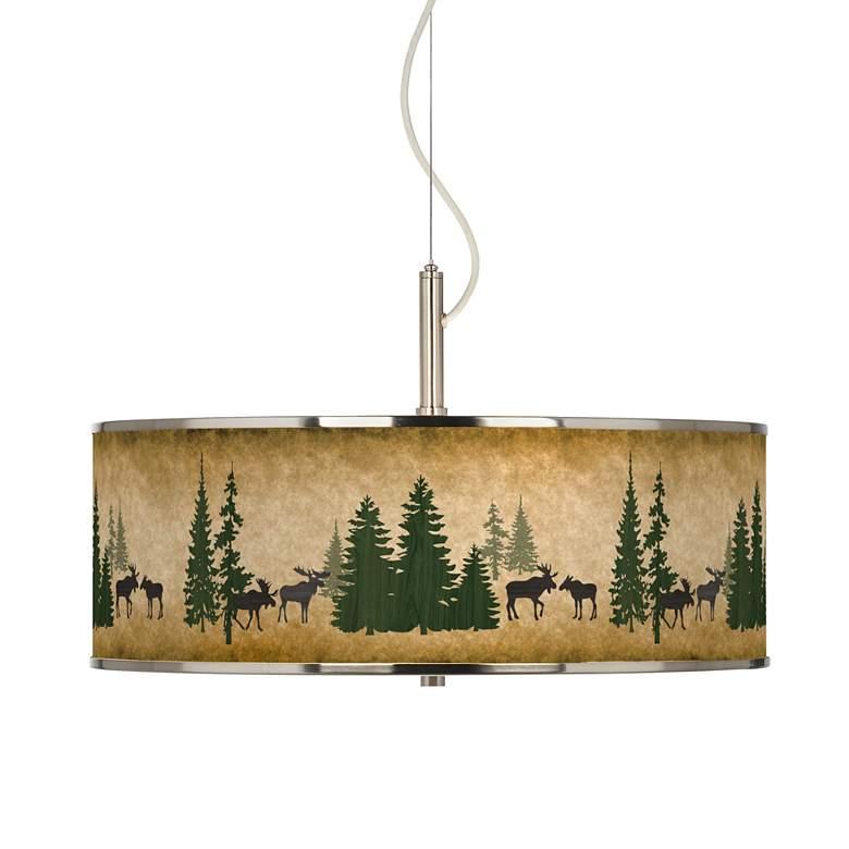 "Moose Lodge Giclee Glow 20"" Wide Pendant Light"