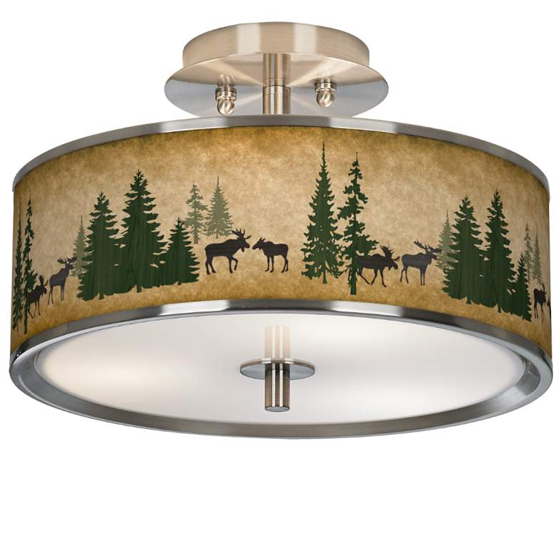 "Moose Lodge Giclee Glow 14"" Wide Ceiling Light"
