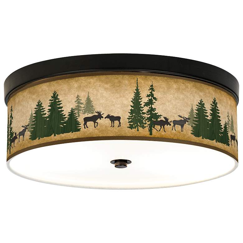 Moose Lodge Giclee Energy Efficient Bronze Ceiling Light
