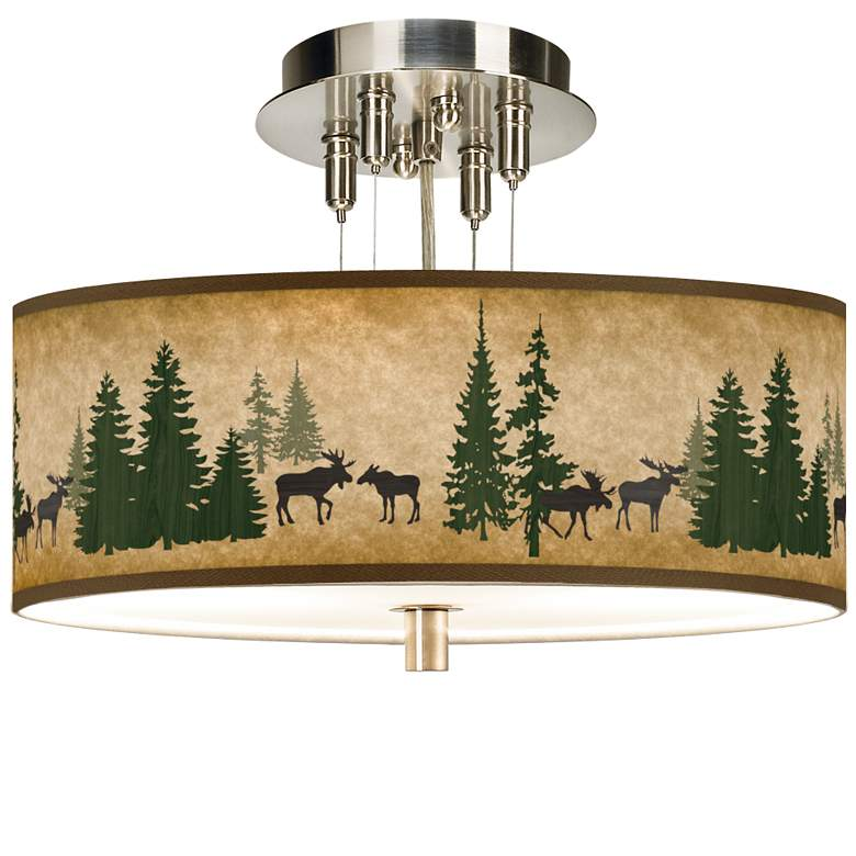 """Moose Lodge Giclee 14"""" Wide Ceiling Light"""