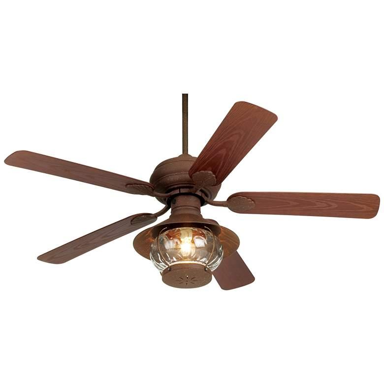 """52"""" Casa Vieja Tropical Oak Lantern Outdoor LED Ceiling Fan"""