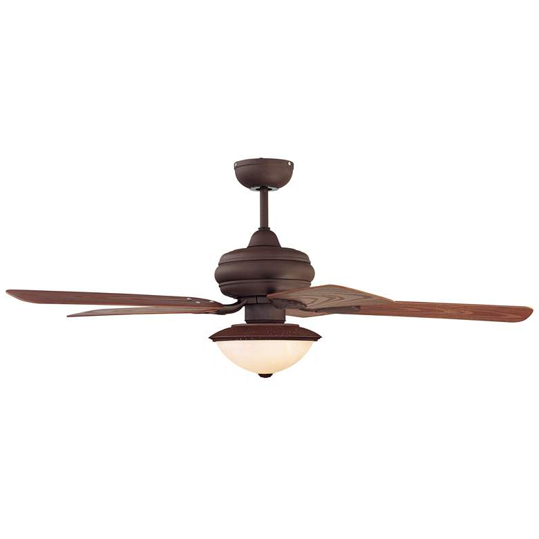 "52"" Casa Vieja Tropical Oak Frosted Glass LED Ceiling Fan"