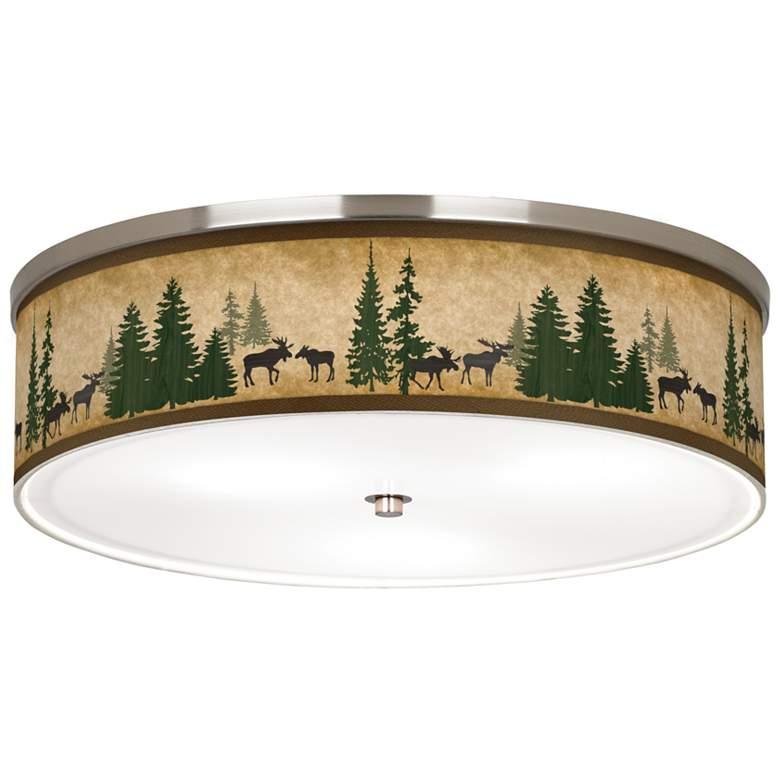 "Moose Lodge Giclee Nickel 20 1/4"" Wide Ceiling Light"