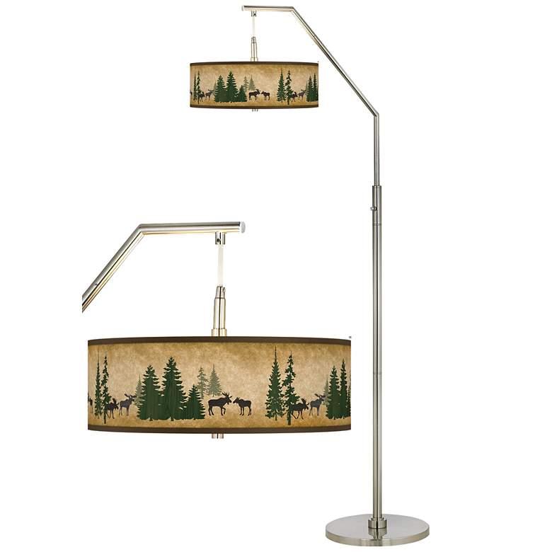 Moose Lodge Giclee Shade Arc Floor Lamp