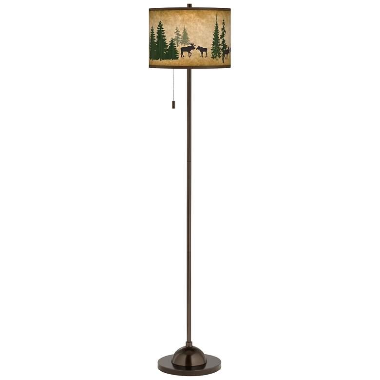 Moose Lodge Giclee Glow Bronze Club Floor Lamp