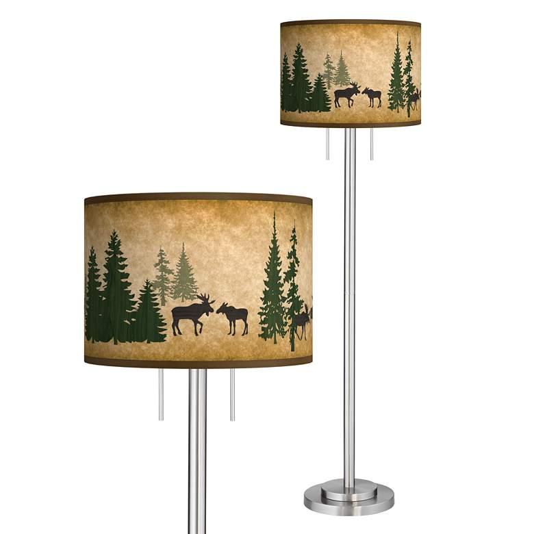 Moose Lodge Giclee Brushed Nickel Garth Floor Lamp