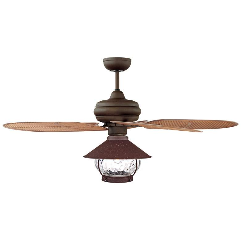 "52"" Casa Vieja Tropical Rattan Blade Lantern LED Ceiling Fan"