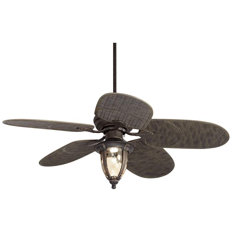"52"" Casa Vieja Veranda Rattan Outdoor LED Ceiling Fan"