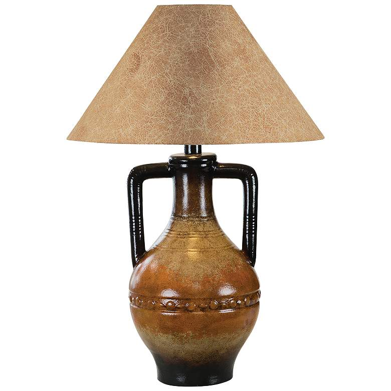 Lorenz Southwest Orange Hydrocal 2-Handle Jug Table Lamp