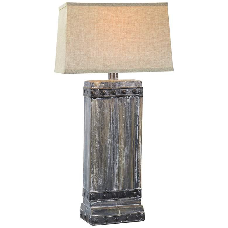 Estella Gray Wash Rectangular Hydrocal Table Lamp