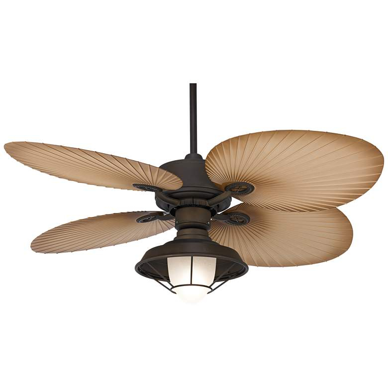 """52"""" Aerostat Palm Caged Frosted Glass Wet LED Ceiling Fan"""