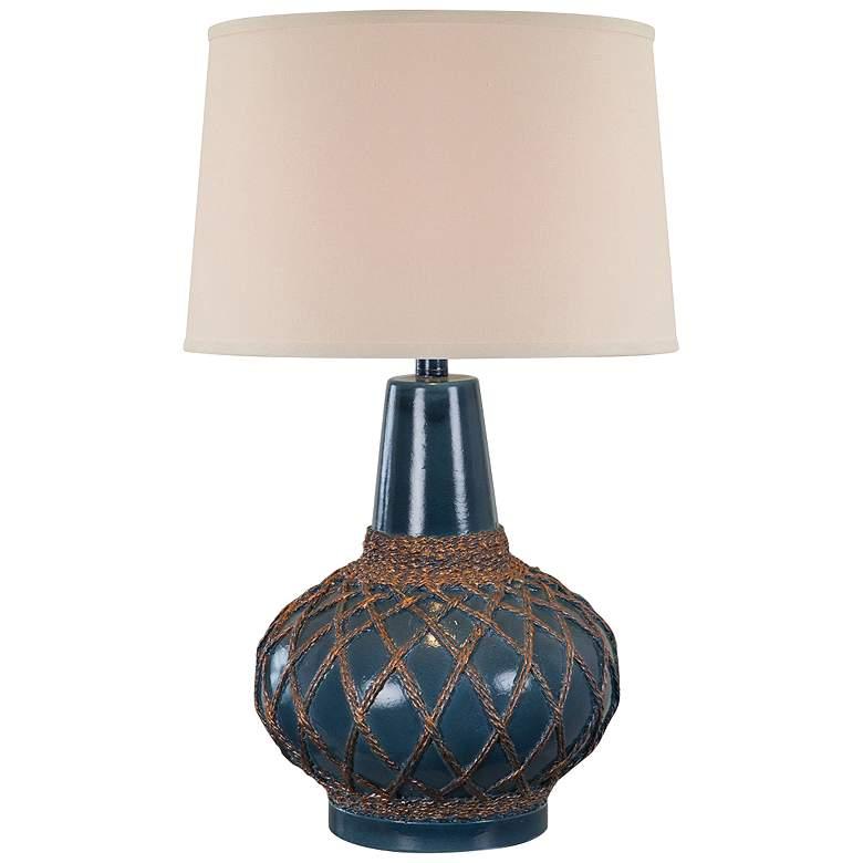 Farallon Atlantic Blue Trans Hydrocal Netted Table Lamp