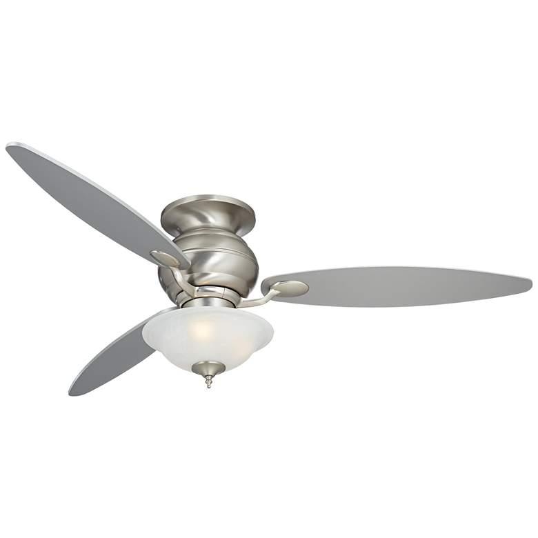"""60"""" Spyder Nickel and Alabaster Glass LED Hugger Ceiling Fan"""