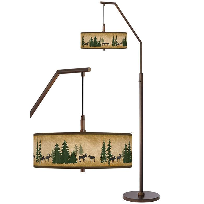 Moose Lodge Bronze Downbridge Arc Floor Lamp
