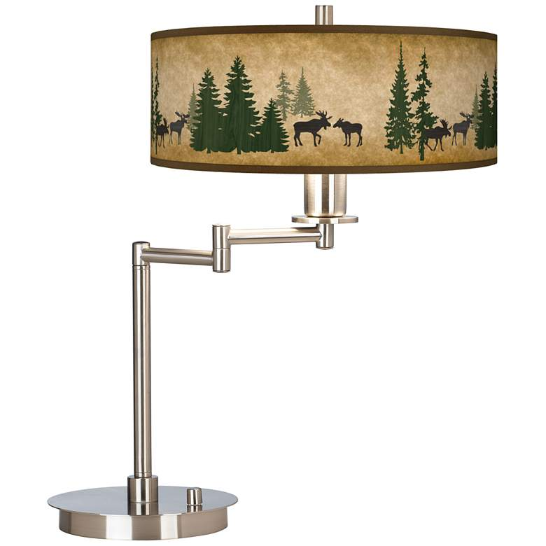 Moose Lodge Giclee Shade LED Swing Arm Desk Lamp