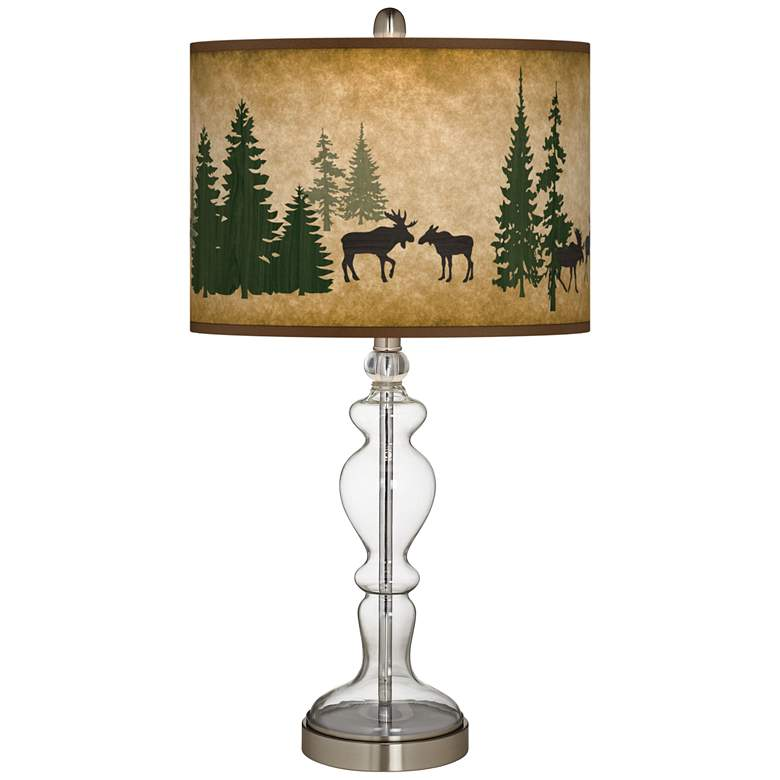 Moose Lodge Giclee Apothecary Clear Glass Table Lamp