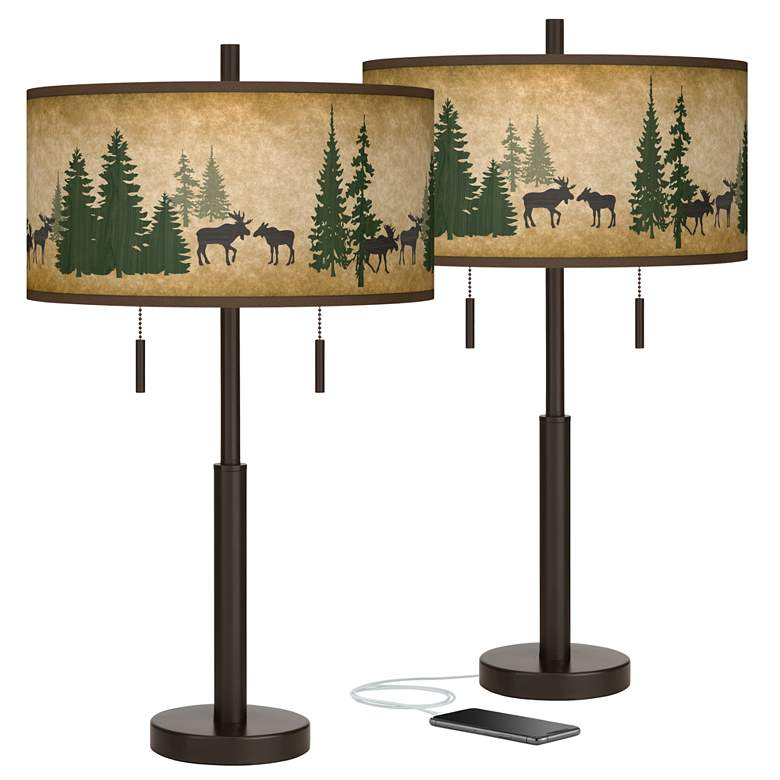 Moose Lodge Robbie Bronze USB Table Lamps Set of 2