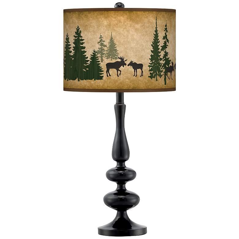 Moose Lodge Giclee Paley Black Table Lamp