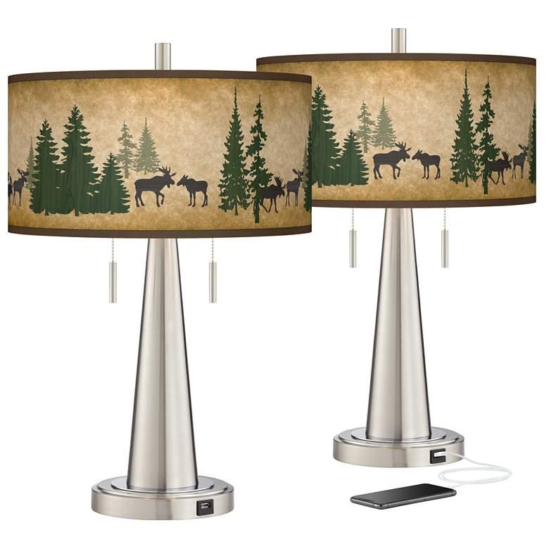 Moose Lodge Vicki Brushed Nickel USB Table Lamps Set of 2