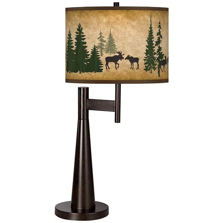 Moose Lodge Giclee Novo Table Lamp