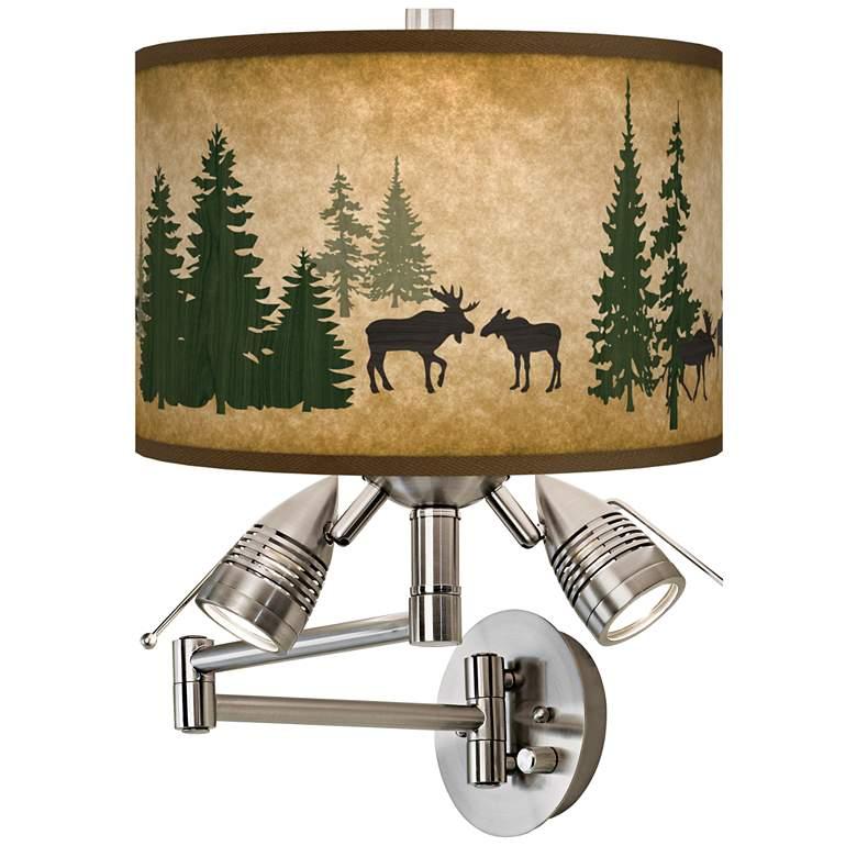 Moose Lodge Giclee Plug-In Swing Arm Wall Lamp