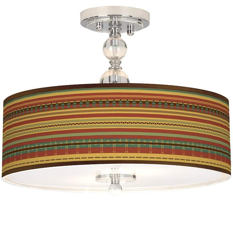 """Southwest Desert Giclee 16"""" Wide Semi-Flush Ceiling Light"""