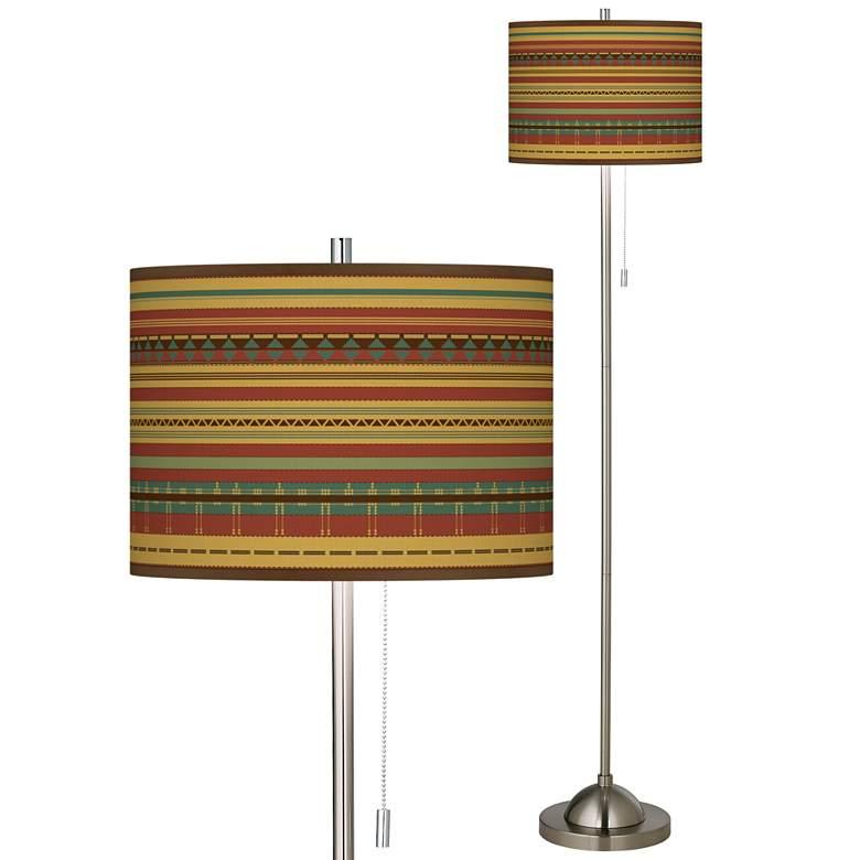 Southwest Desert Brushed Nickel Pull Chain Floor Lamp