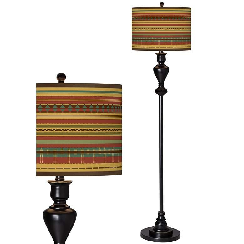 Southwest Desert Giclee Glow Black Bronze Floor Lamp