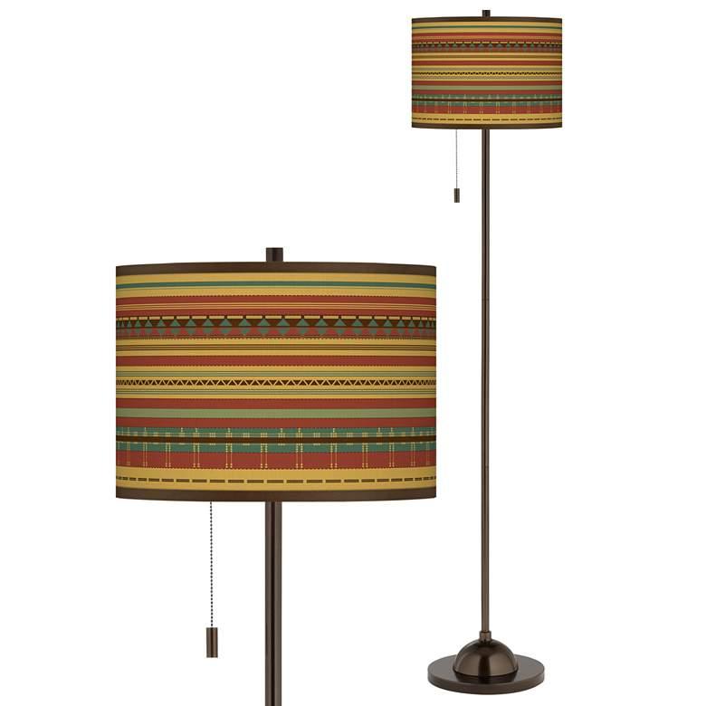 Southwest Desert Giclee Glow Bronze Club Floor Lamp