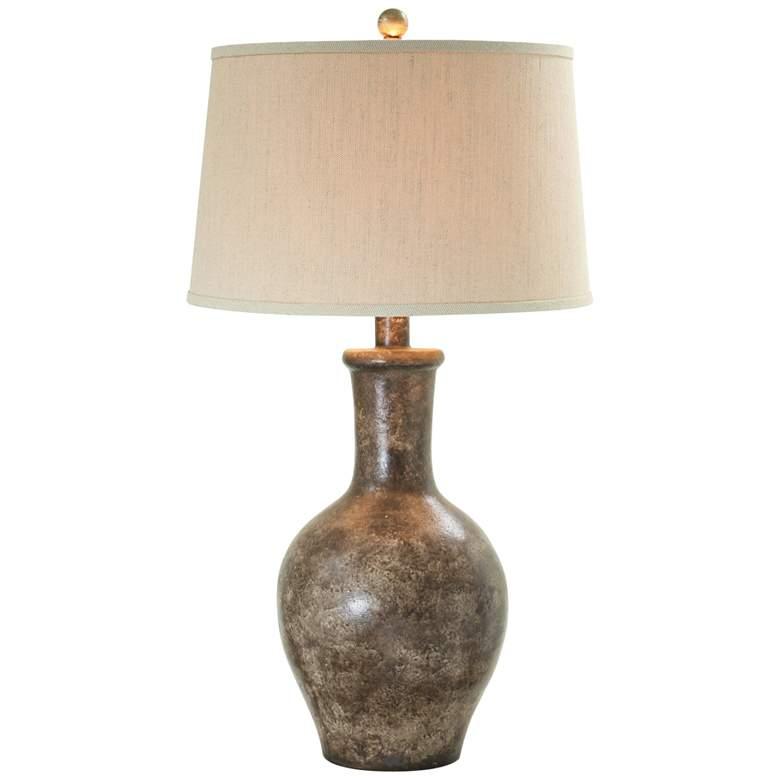 Cepeda Cordovan Brown Hydrocal Vase Table Lamp