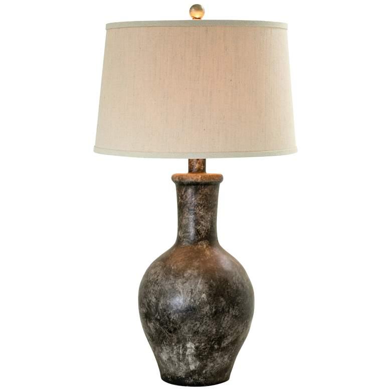 Cepeda Slate Transparent Hydrocal Vase Table Lamp