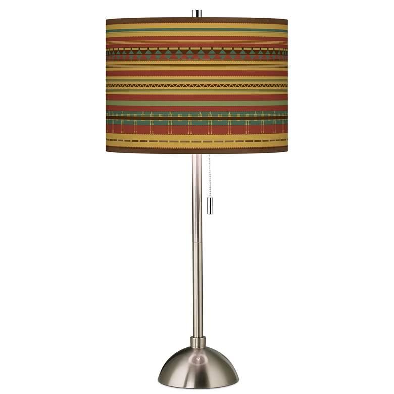 Southwest Desert Giclee Brushed Nickel Table Lamp
