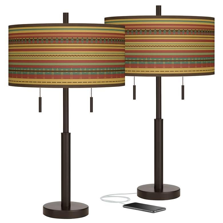 Southwest Desert Robbie Bronze USB Table Lamps Set of 2
