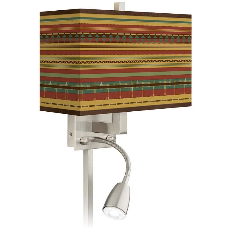 Southwest Desert Giclee Glow LED Reading Light Plug-In Sconce