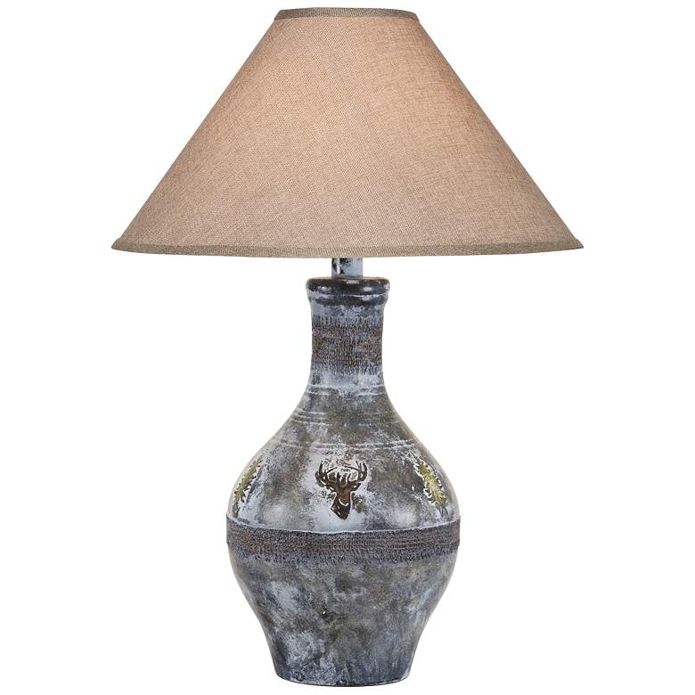 Stag Gray Wash Hydrocal Vase Table Lamp