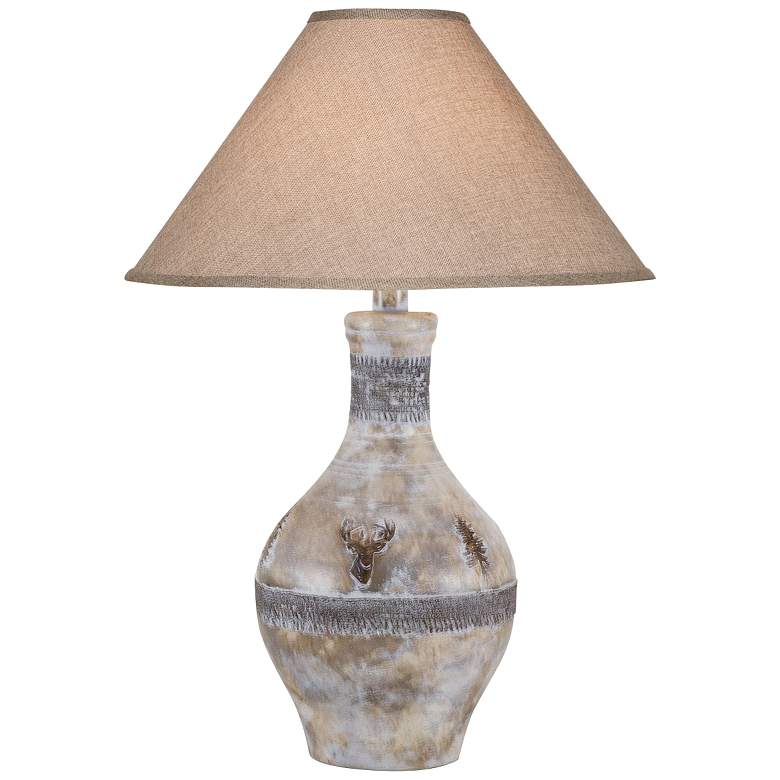 Stag Oak White Wash Hydrocal Vase Table Lamp