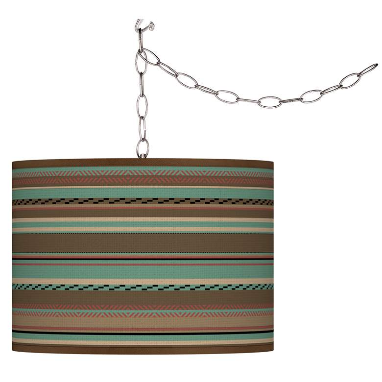 Swag Style Southwest Shore Giclee Shade Plug-In Chandelier