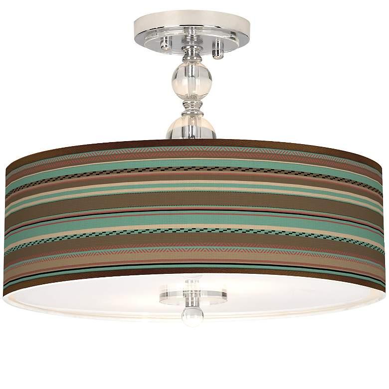"""Southwest Shore Giclee 16"""" Wide Semi-Flush Ceiling Light"""