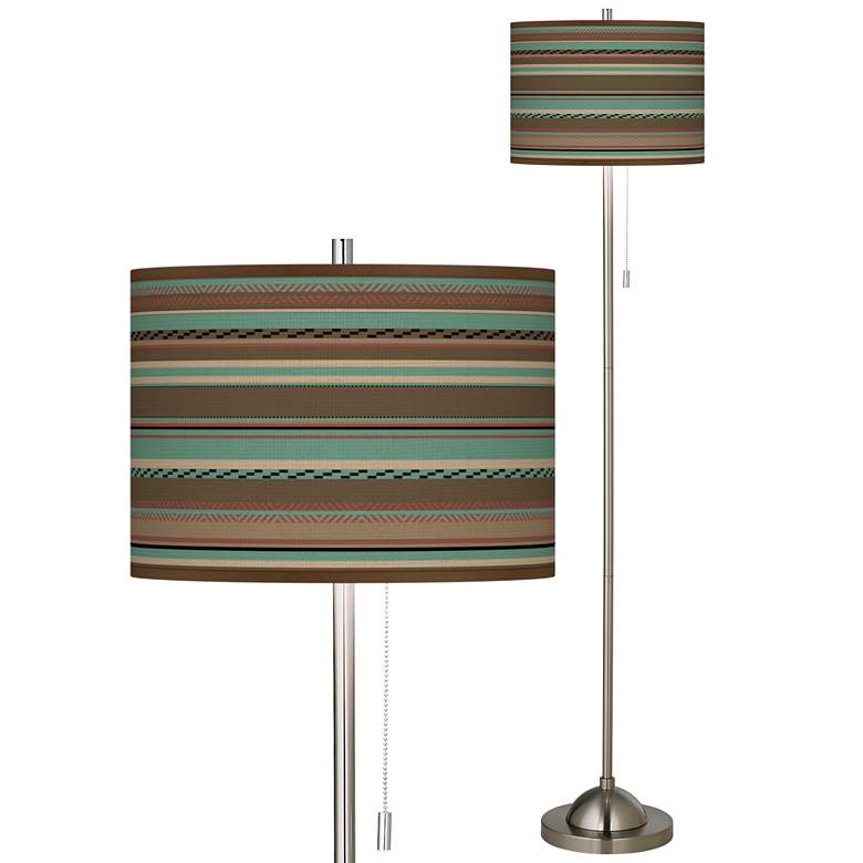 Southwest Shore Brushed Nickel Pull Chain Floor Lamp