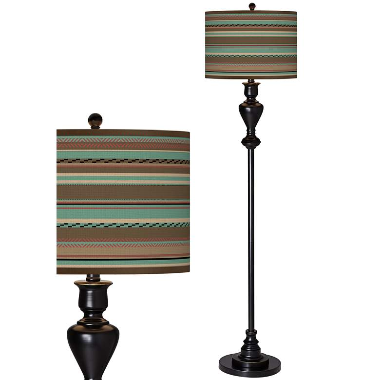 Southwest Shore Giclee Glow Black Bronze Floor Lamp
