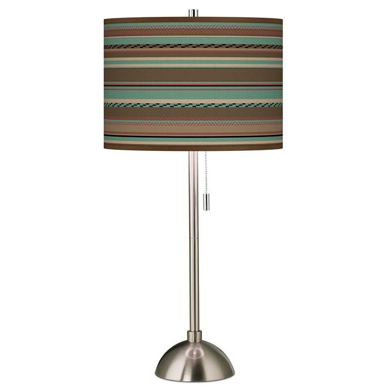 Southwest Shore Giclee Brushed Nickel Table Lamp
