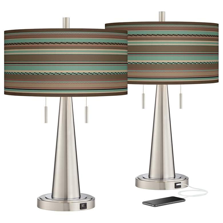 Southwest Shore Vicki Brushed Nickel USB Table Lamps Set of 2
