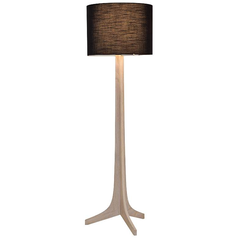 Nauta White Oak Aluminum LED Floor Lamp with Black Shade