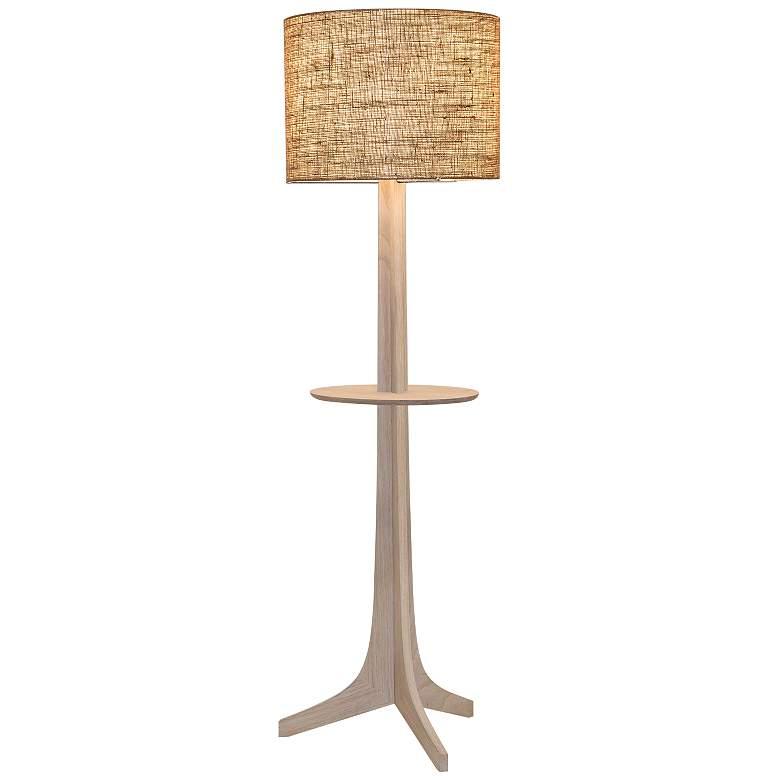 Nauta White Oak Aluminum LED Tray Floor Lamp w/ Burlap Shade