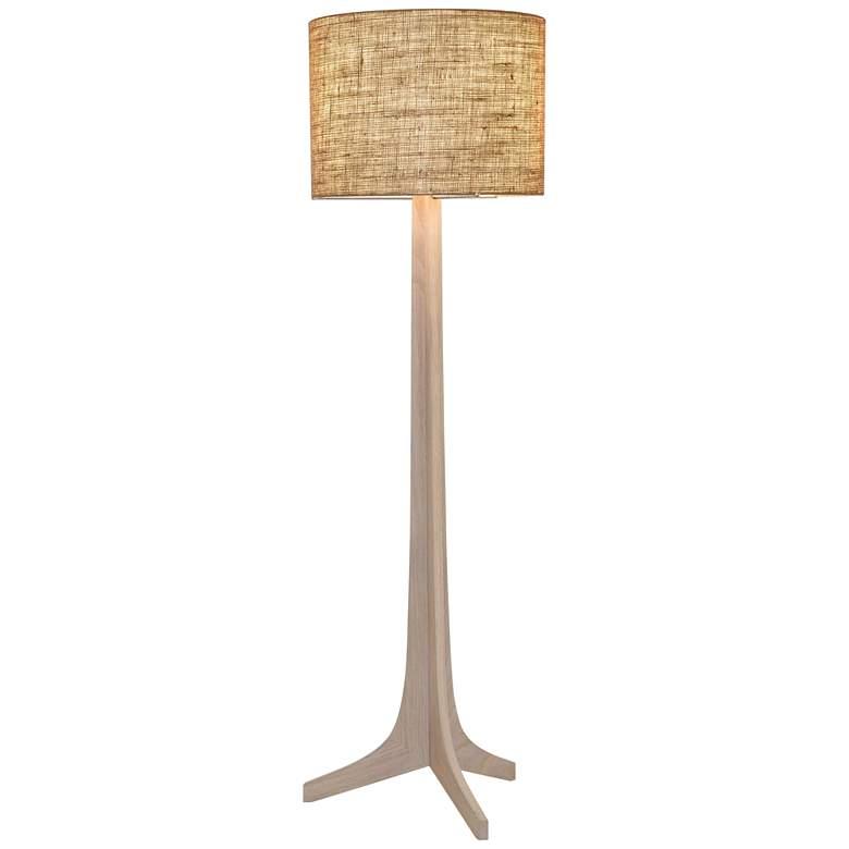 Nauta White Oak Aluminum LED Floor Lamp with Burlap Shade