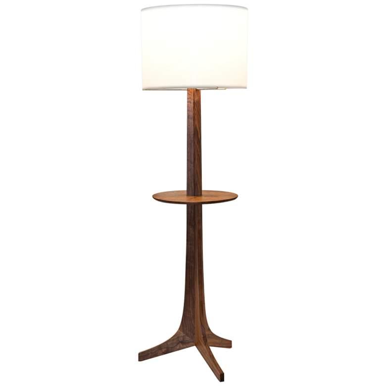 Nauta Walnut Aluminum LED Tray Floor Lamp with White Shade