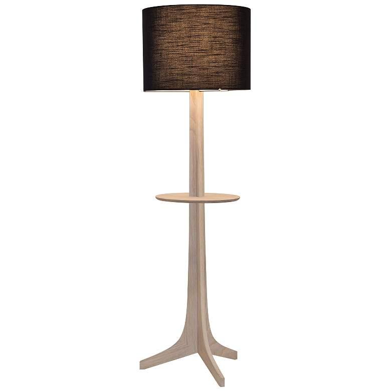 Nauta White Oak Brass LED Tray Floor Lamp with Black Shade