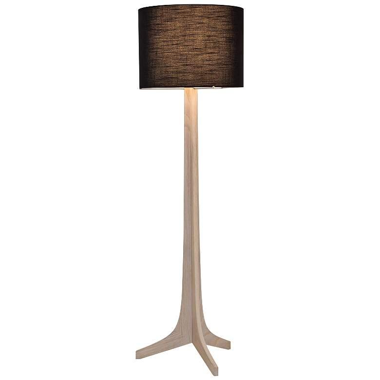Cerno Nauta White Oak Brass LED Floor Lamp with Black Shade